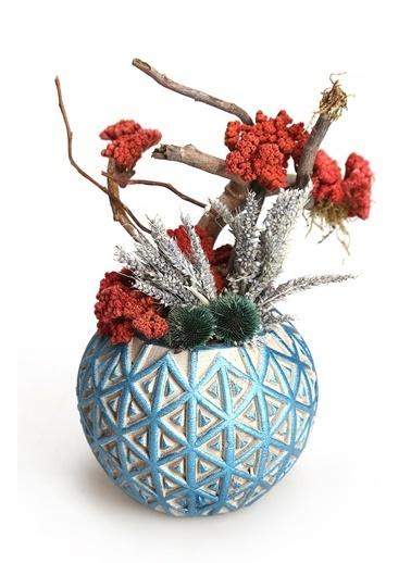 Kibrithane Çiçek Yapay Çiçek Dekoratif Beton Saksı Kuru Çiçek Aranjman Kc00200836 Renkli